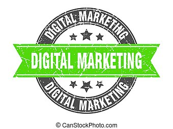 digital marketing round stamp with ribbon. label sign