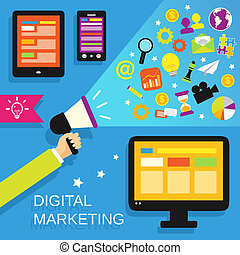 Digital marketing concept with mobile gadgets and business icons set vector illustration.