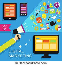 Digital marketing set - Digital marketing concept with...