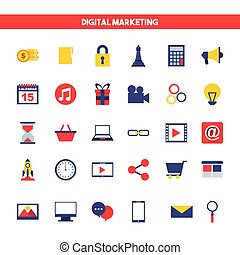 digital marketing set line icons