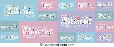 Digital marketing set. Smm and seo, advertising and...