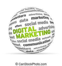 Digital marketing - Digital Marketing Word 3d sphere on...