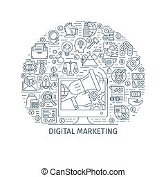 Digital marketing thin line concept - Digital marketing...