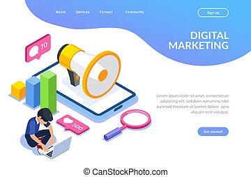 Digital marketing vector isometric concept. Internet advertising.