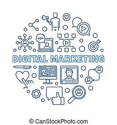 Digital Marketing vector round concept outline illustration