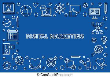 Digital Marketing vector thin line illustration or frame