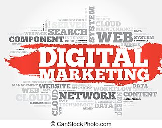 Digital marketing word cloud concept