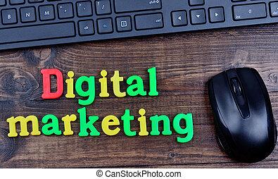Digital marketing words on table