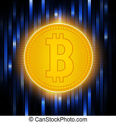 Digital matrix of deducting money . Crypto currency abstraction golden bit-coin . Bitcoin concept on an abstract blue background .