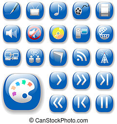 Digital Media Art Icons with Blue Drop Shadows