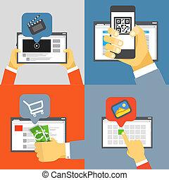Digital media industry. Flat design concept