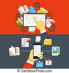 Digital media library. Flat design concept