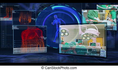 Digital medical interface showing various surgical clips on...