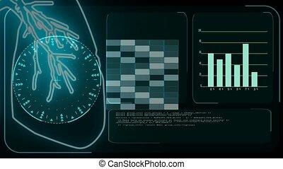 digital meter monitor radar scanning deteced covid virus 19 in lung