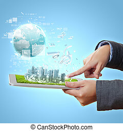 digital metropolis - Abstract modern technological digital...