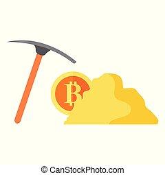 Digital Mining Bitcoin Vector Illustration Graphic