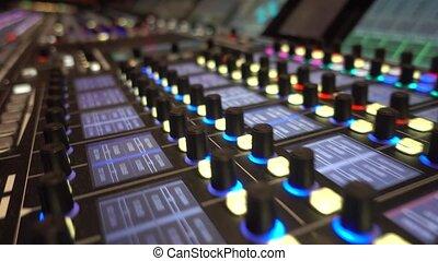 Digital mixing board, recording studio. Broadcasting.
