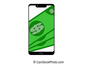 Digital mobile wallet concept isolated, 3D rendering