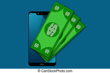 Digital mobile wallet concept with money and smart phone, 3D...
