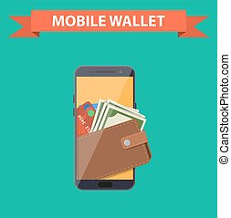 digital mobile wallet icon. smartphone screen with wallet...