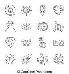 Digital money, bitcoin vector line icons, minimal pictogram desi