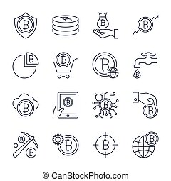 Digital money, bitcoin vector line icons, minimal pictogram design. Editable stroke for any resolution.