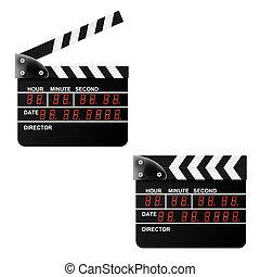 Digital Movie clapper board on a white background. Vector illust