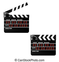 Digital Movie clapper board on a white background. Vector illust