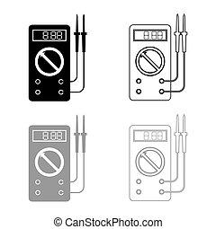 Digital multimeter for measuring electrical indicators AC DC voltage amperage ohmmeter power with probes icon outline set black grey color vector illustration flat style simple image