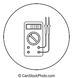 Digital multimeter for measuring electrical indicators AC DC voltage amperage ohmmeter power with probes icon in circle round outline black color vector illustration flat style simple image