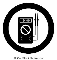 Digital multimeter for measuring electrical indicators AC DC voltage amperage ohmmeter power with probes icon in circle round black color vector illustration flat style simple image