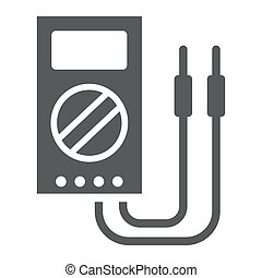Digital multimeter glyph icon, tool and instrument, electric volmeter sign, vector graphics, a solid pattern on a white background, eps 10.