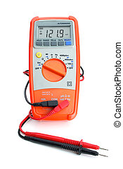 Digital multimeter isolated on the white background. Frontal...