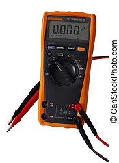 Digital Multimeter - Yellow digital electric multimeter with...