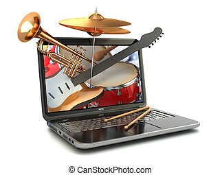 Digital music composer concept. Laptop and musical ...