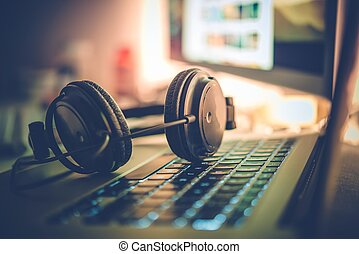 Digital Music Creation Theme with Professional Headphones on...