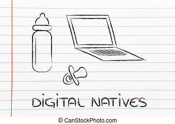 digital natives: funny design with laptop, feeding bottle...
