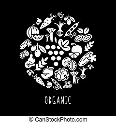 digital, negro, vegetal, iconos, conjunto