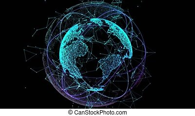 Digital network technology abstract of the globe. 4k video