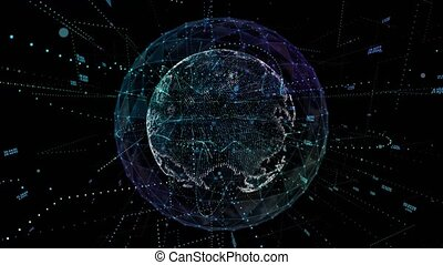 Digital network technology abstract of the globe