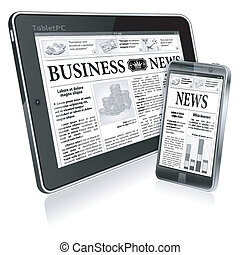 Digital News Concept with Business Newspaper on screen...