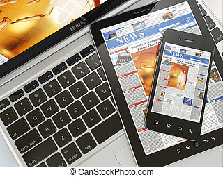 digital, news., laptop, handy, und, digital tablette, pc