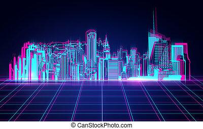 Digital night city background