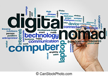 Digital nomad word cloud concept on grey background
