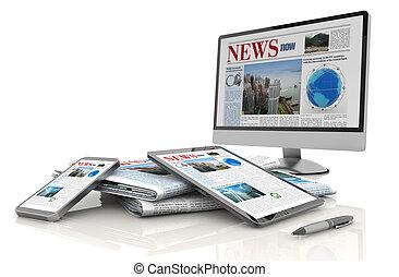digital, notícia, conceito