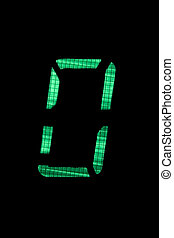 digital number nil or zero in green on black background