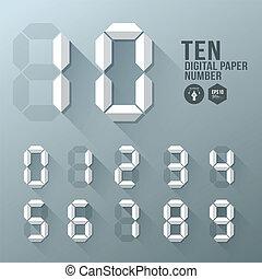 Digital Number paper shadow design