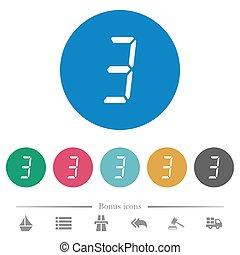 digital number three of seven segment type flat round icons