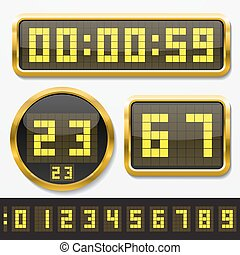 digital numbers and basic clock body shapes set.(dot style...