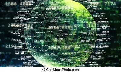 Digital numbers around a wired sphere - A lot of digital...